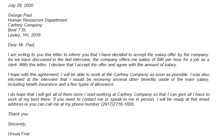 5 Salary Acceptance Letter