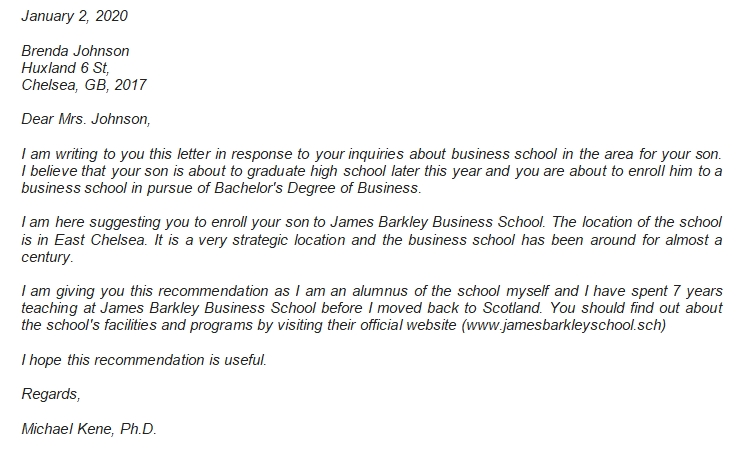The Proper Business School Recommendation Letter Example