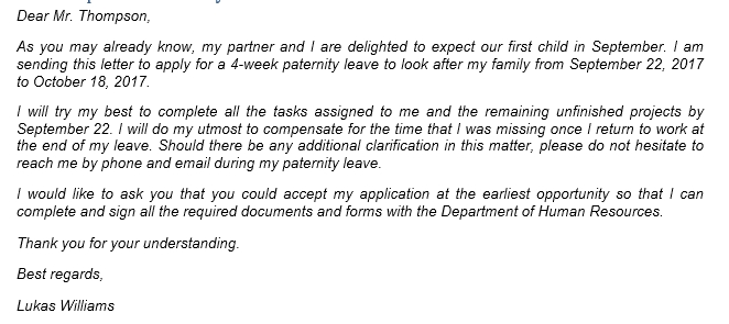 100 Paternity Leave Letter