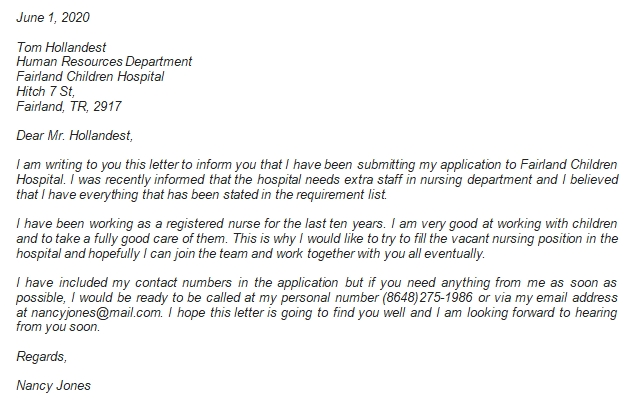 Important Information about Nursing Application Letter before Writing It