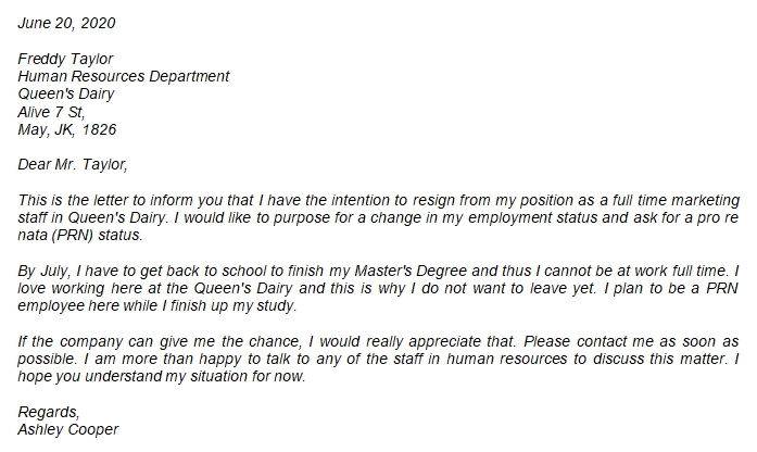 Easy Resignation Letter from Fulltime to PRN Example to Use