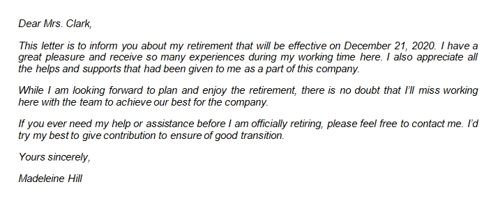 Professional Retirement Resignation Letter Format and Writing Guide with Sample