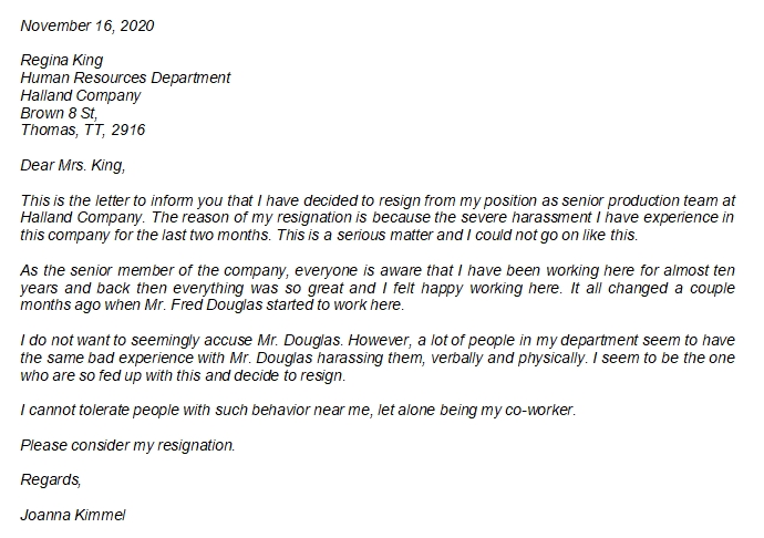 Resignation Letter Due to Harassment and Related Questions