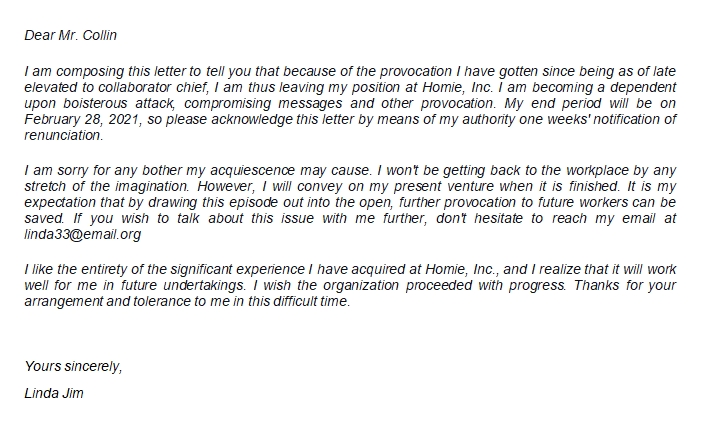 Resignation Letter Due to Harassment Format and Structure