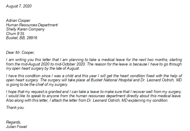 This is How to Write Medical Leave Letter to Your Company