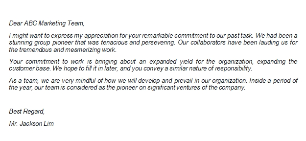 The Simple Example of Appreciation Letter to Team for Good Work