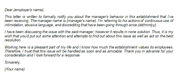 Grievance Letter to Send to Manager, Supervisor, Employer, or HR Department