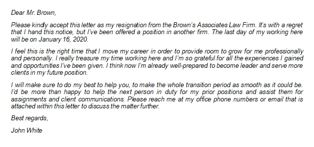 Attorney Resignation Letter Tips and Sample to Leave Job at Law Firm