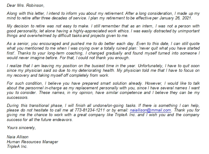 Retirement Letter to Employer Sample and Writing Tips
