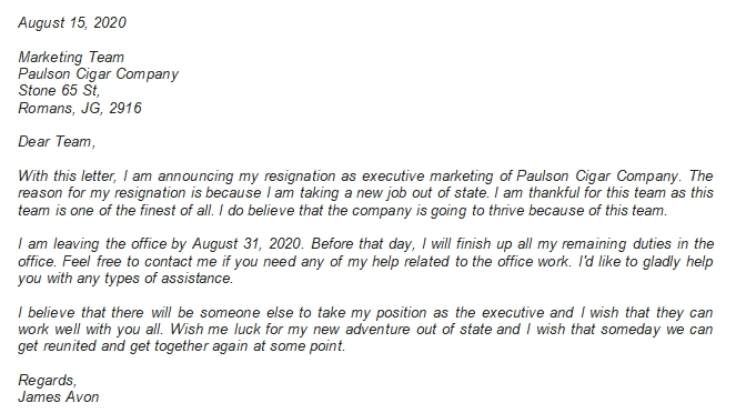 Use this Executive Resignation Letter when You Leave Your Job