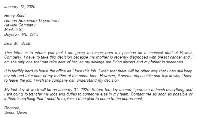 Resignation Letter Due to Family Illness Format and Details