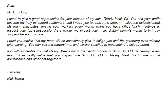 The Reliable Customer Thank You Letter Template