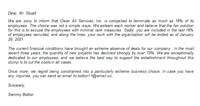 The Letter of Termination Due to Layoff Sample