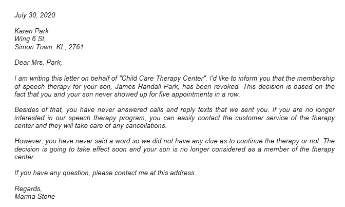 95 Therapy Termination Letter