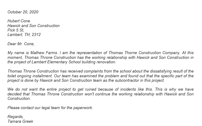 Subcontractor Termination Letter and the Proper Way to Write It