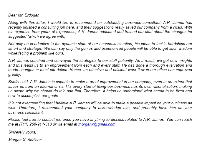 99 Business Consultant Recommendation Letter